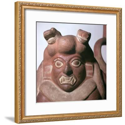 Peruvian earthenware bottle in the form of a squatting figure, 5th century. Artist: Unknown-Unknown-Framed Giclee Print