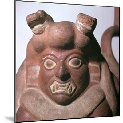 Peruvian earthenware bottle in the form of a squatting figure, 5th century. Artist: Unknown-Unknown-Mounted Giclee Print