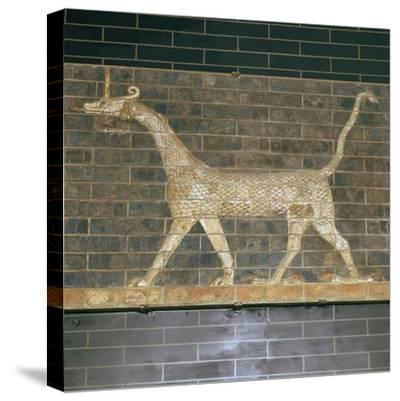 Glazed brick relief of a mushrushu on the Ishtar Gate, 7th century BC Artist: Unknown-Unknown-Stretched Canvas Print