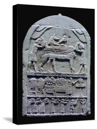 Egyptian stele showing Anubis preparing a mummy. Artist: Unknown-Unknown-Stretched Canvas Print