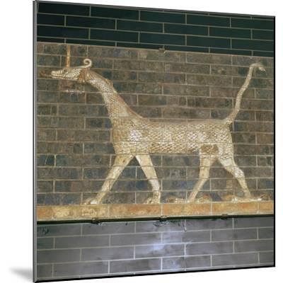 Glazed brick relief of a mushrushu on the Ishtar Gate, 7th century BC Artist: Unknown-Unknown-Mounted Giclee Print