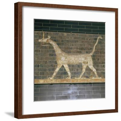 Glazed brick relief of a mushrushu on the Ishtar Gate, 7th century BC Artist: Unknown-Unknown-Framed Giclee Print