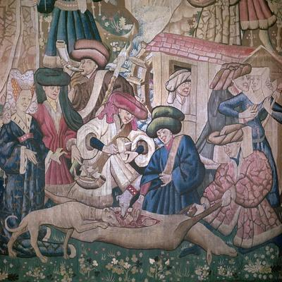 Detail from the Devonshire Hunting Tapestries, 15th century. Artist: Unknown-Unknown-Framed Giclee Print