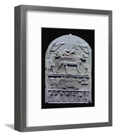 Egyptian stele showing Anubis preparing a mummy. Artist: Unknown-Unknown-Framed Giclee Print