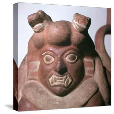Peruvian earthenware bottle in the form of a squatting figure, 5th century. Artist: Unknown-Unknown-Stretched Canvas Print