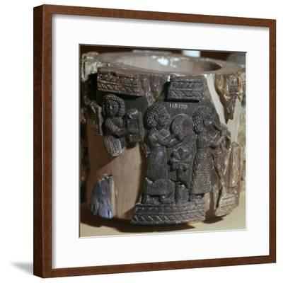 Procession of musicians on a steatite pyxis, 8th century BC. Artist: Unknown-Unknown-Framed Giclee Print