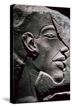 Relief showing the head of Akhenaten, 14th century BC. Artist: Unknown-Unknown-Stretched Canvas Print