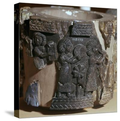 Procession of musicians on a steatite pyxis, 8th century BC. Artist: Unknown-Unknown-Stretched Canvas Print