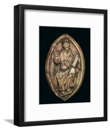 Anglo-Saxon carving of a man writing a book, 10th century. Artist: Unknown-Unknown-Framed Giclee Print
