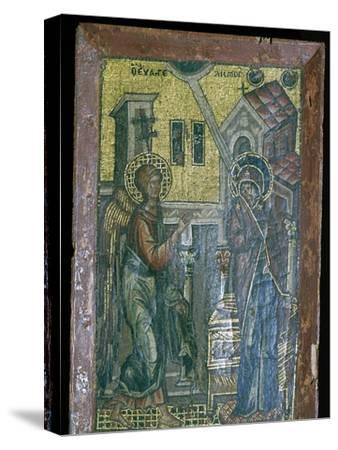 Miniature Byzantine mosaic of the Annunciation, 14th century. Artist: Unknown-Unknown-Stretched Canvas Print