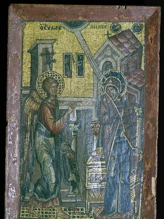 Miniature Byzantine mosaic of the Annunciation, 14th century. Artist: Unknown-Unknown-Framed Giclee Print