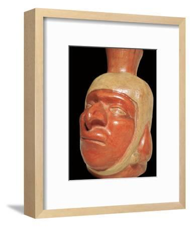 Mochica pottery vessel of a hook-nosed man. Artist: Unknown-Unknown-Framed Giclee Print
