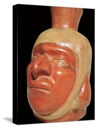 Mochica pottery vessel of a hook-nosed man. Artist: Unknown-Unknown-Stretched Canvas Print