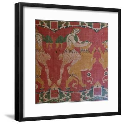 Byzantine silk with a motif of a hero and lion. Artist: Unknown-Unknown-Framed Giclee Print