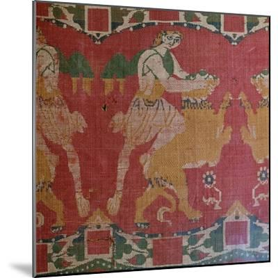 Byzantine silk with a motif of a hero and lion. Artist: Unknown-Unknown-Mounted Giclee Print