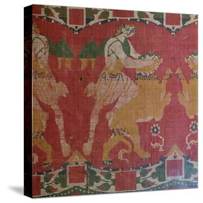 Byzantine silk with a motif of a hero and lion. Artist: Unknown-Unknown-Stretched Canvas Print