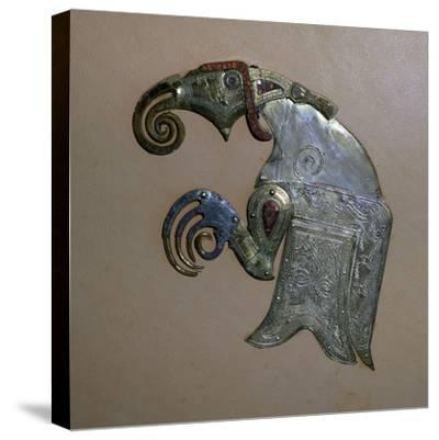 Anglo-Saxon bird ornament from the Sutton-Hoo ship burial. Artist: Unknown-Unknown-Stretched Canvas Print