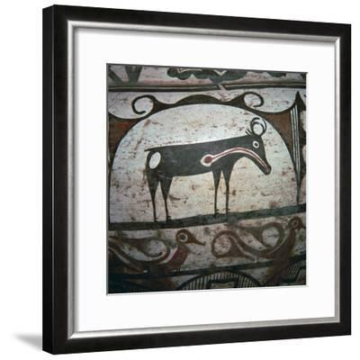 Detail of Zuni tribe Native American hunting magic on pottery. Artist: Unknown-Unknown-Framed Giclee Print
