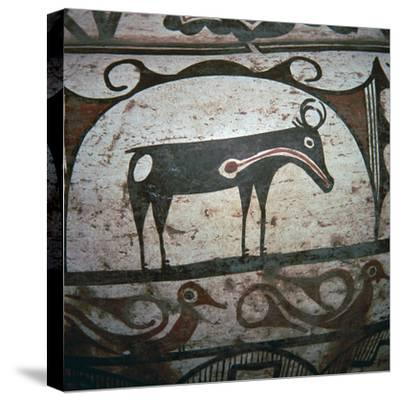 Detail of Zuni tribe Native American hunting magic on pottery. Artist: Unknown-Unknown-Stretched Canvas Print