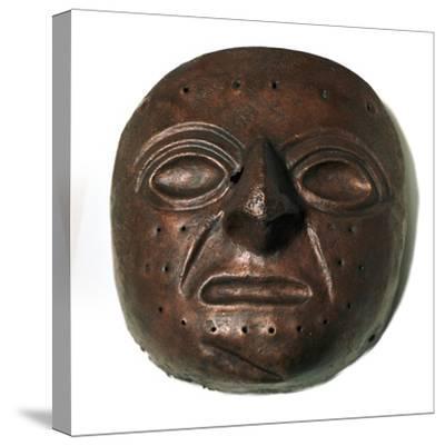 Chimu culture copper mask. Artist: Unknown-Unknown-Stretched Canvas Print
