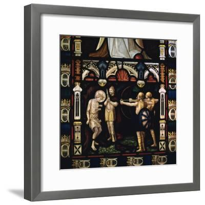 Stained glass window of St Edmund being martyred by Danes, 9th century. Artist: Unknown-Unknown-Framed Giclee Print