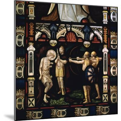 Stained glass window of St Edmund being martyred by Danes, 9th century. Artist: Unknown-Unknown-Mounted Giclee Print
