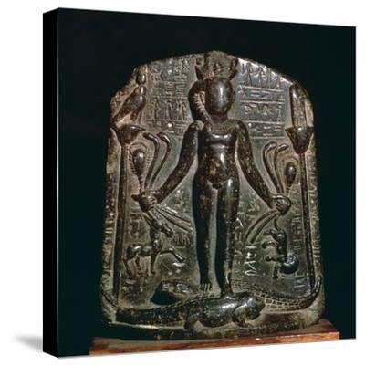 Egyptian stele showing the infant Horus, 4th century. Artist: Unknown-Unknown-Stretched Canvas Print
