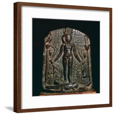 Egyptian stele showing the infant Horus, 4th century. Artist: Unknown-Unknown-Framed Giclee Print