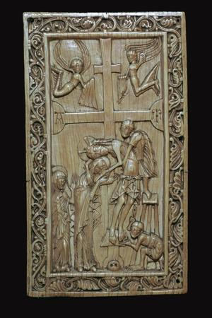 Ivory carving of the deposition from the cross. Artist: Unknown-Unknown-Framed Giclee Print