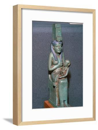 Bronze statuette of the Egyptian goddess Isis suckling Horus. Artist: Unknown-Unknown-Framed Giclee Print