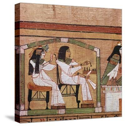 Detail from an Egyptian papyrus showing a game of draughts. Artist: Unknown-Unknown-Stretched Canvas Print