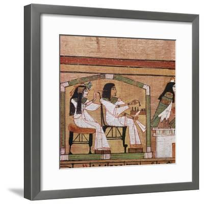 Detail from an Egyptian papyrus showing a game of draughts. Artist: Unknown-Unknown-Framed Giclee Print