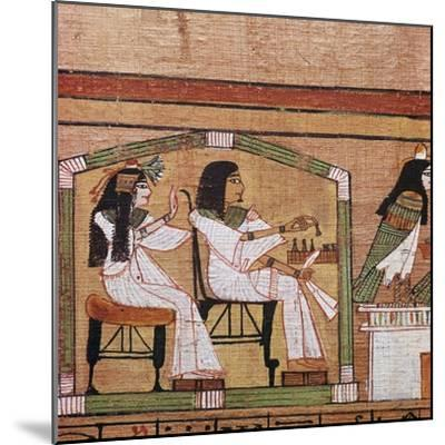 Detail from an Egyptian papyrus showing a game of draughts. Artist: Unknown-Unknown-Mounted Giclee Print