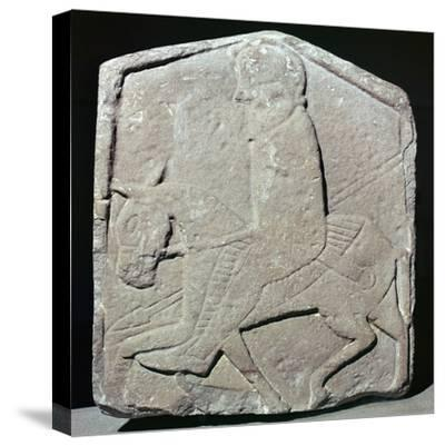 Detail of a Pictish slab showing a horseman with sword and spear, 7th century Artist: Unknown-Unknown-Stretched Canvas Print