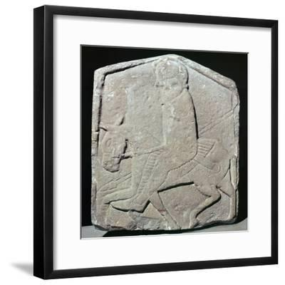 Detail of a Pictish slab showing a horseman with sword and spear, 7th century Artist: Unknown-Unknown-Framed Giclee Print