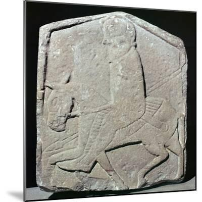 Detail of a Pictish slab showing a horseman with sword and spear, 7th century Artist: Unknown-Unknown-Mounted Giclee Print