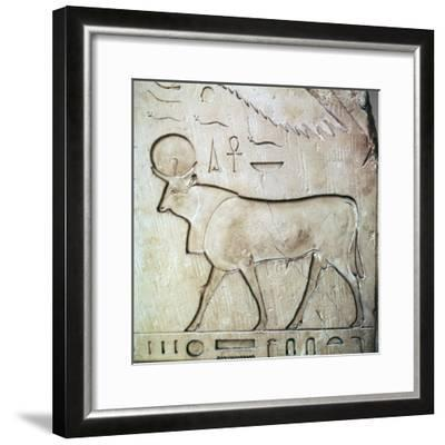 Egyptian relief of the bull-god Apis. Artist: Unknown-Unknown-Framed Giclee Print