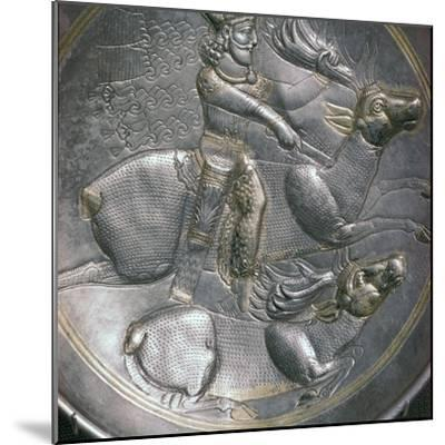 A Sassanid silver dish showing King Shapur II, 4th century. Artist: Unknown-Unknown-Mounted Giclee Print
