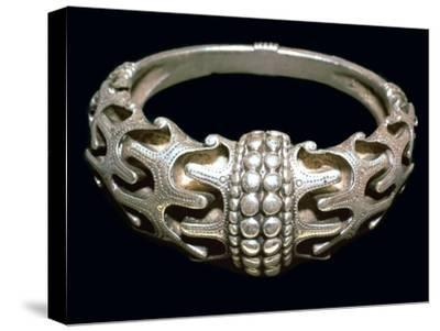 Massive silver Viking bracelet, 10th century. Artist: Unknown-Unknown-Stretched Canvas Print
