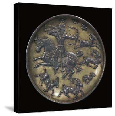 Sassanian dish showing King Ardashir III hunting. Artist: Unknown-Unknown-Stretched Canvas Print