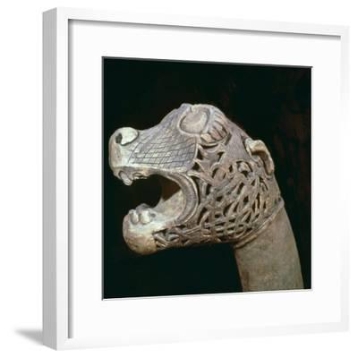 The Academician's' animal head-post from the Oseburg ship burial, 9th century Artist: Unknown-Unknown-Framed Giclee Print