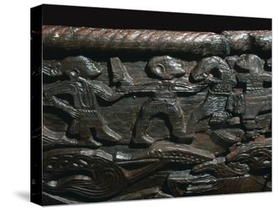 Detail of the Oseberg Cart from the Oseberg ship burial, 9th century. Artist: Unknown-Unknown-Stretched Canvas Print