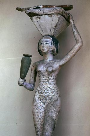 Egyptian statuette of a woman bearing offerings, 22nd century BC. Artist: Unknown-Unknown-Framed Giclee Print
