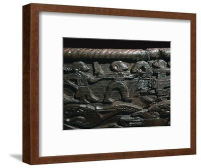 Detail of the Oseberg Cart from the Oseberg ship burial, 9th century. Artist: Unknown-Unknown-Framed Giclee Print