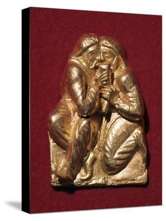 Scythian plaque showing two men drinking from a horn, 4th century BC Artist: Unknown-Unknown-Stretched Canvas Print