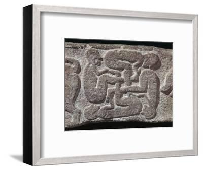 Human swastika motif from a Pictish grave-slab, 7th century Artist: Unknown-Unknown-Framed Giclee Print
