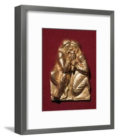 Scythian plaque showing two men drinking from a horn, 4th century BC Artist: Unknown-Unknown-Framed Giclee Print