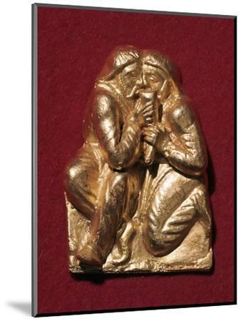 Scythian plaque showing two men drinking from a horn, 4th century BC Artist: Unknown-Unknown-Mounted Giclee Print