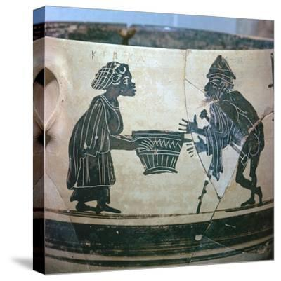 Detail of a Greek vase showing Odysseus and Circe, 5th century BC. Artist: Unknown-Unknown-Stretched Canvas Print