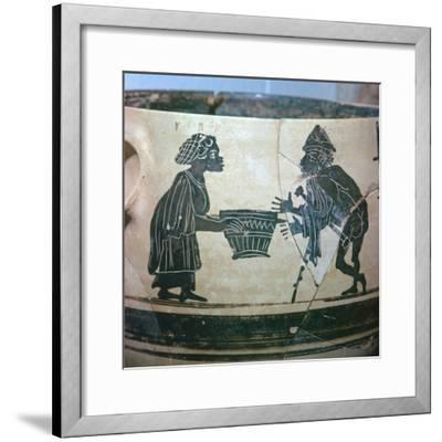 Detail of a Greek vase showing Odysseus and Circe, 5th century BC. Artist: Unknown-Unknown-Framed Giclee Print